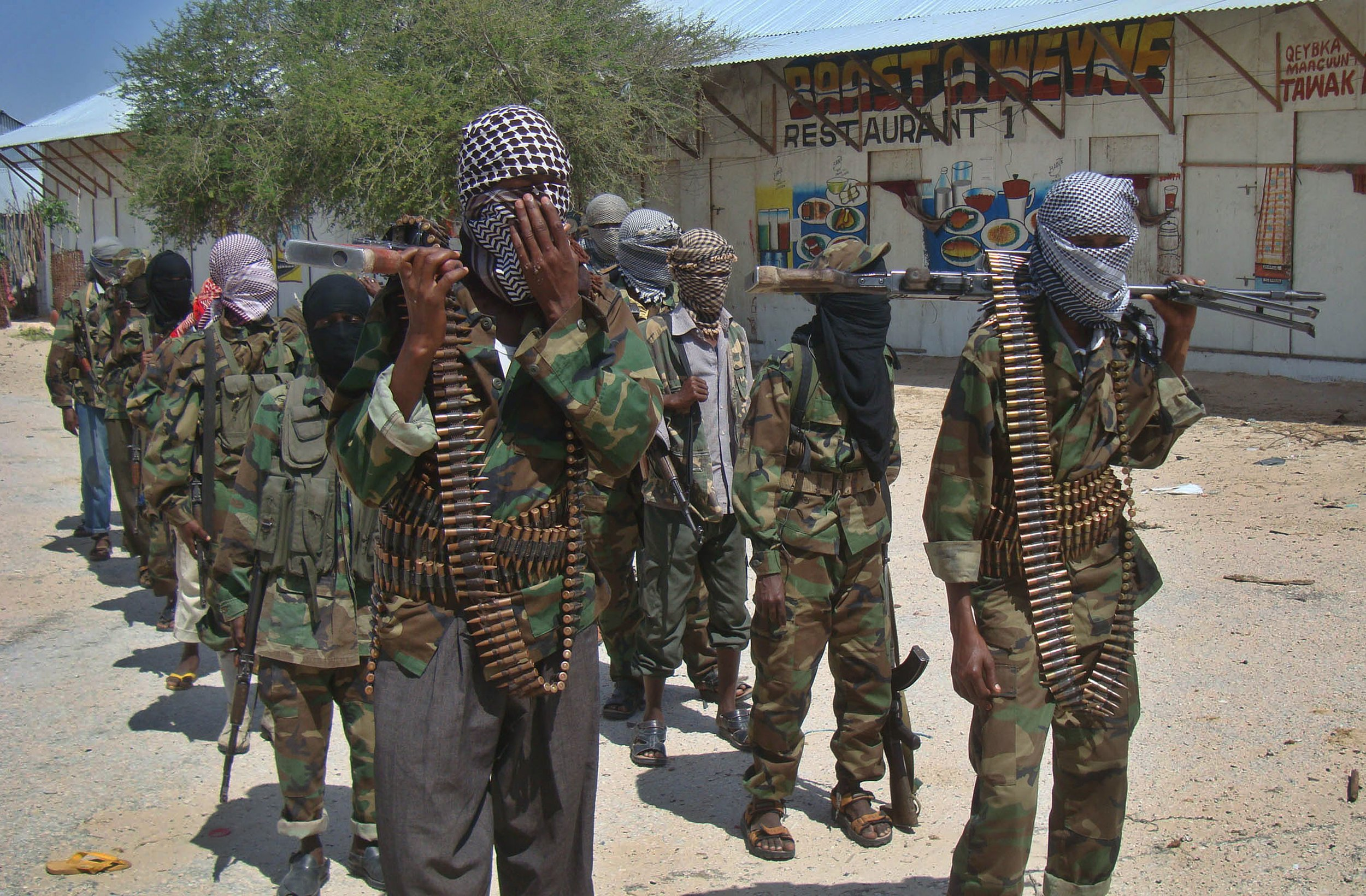 Al-Shabab militants in Mogadishu.