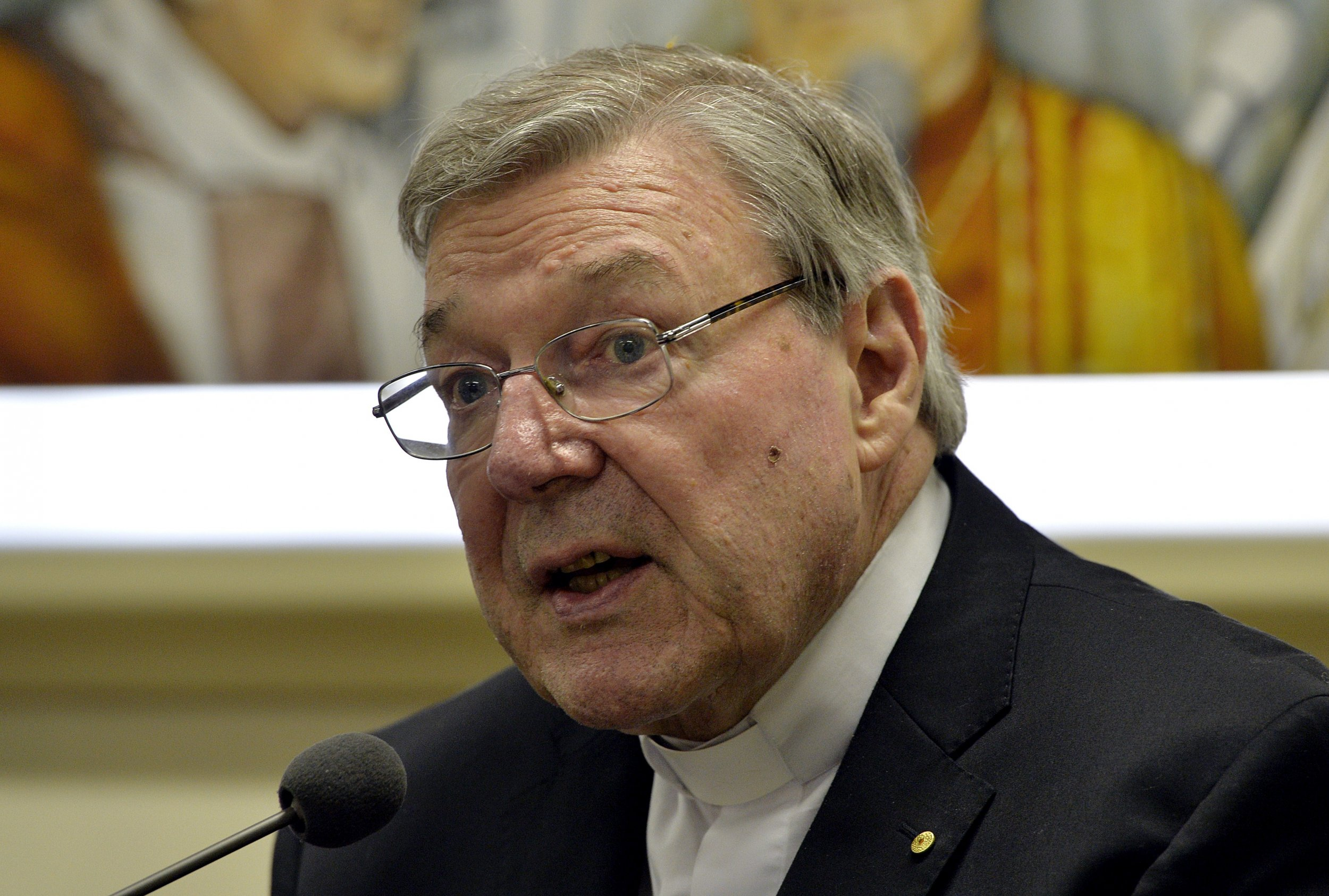 Australian Cardinal George Pell at a Vatican press conference.
