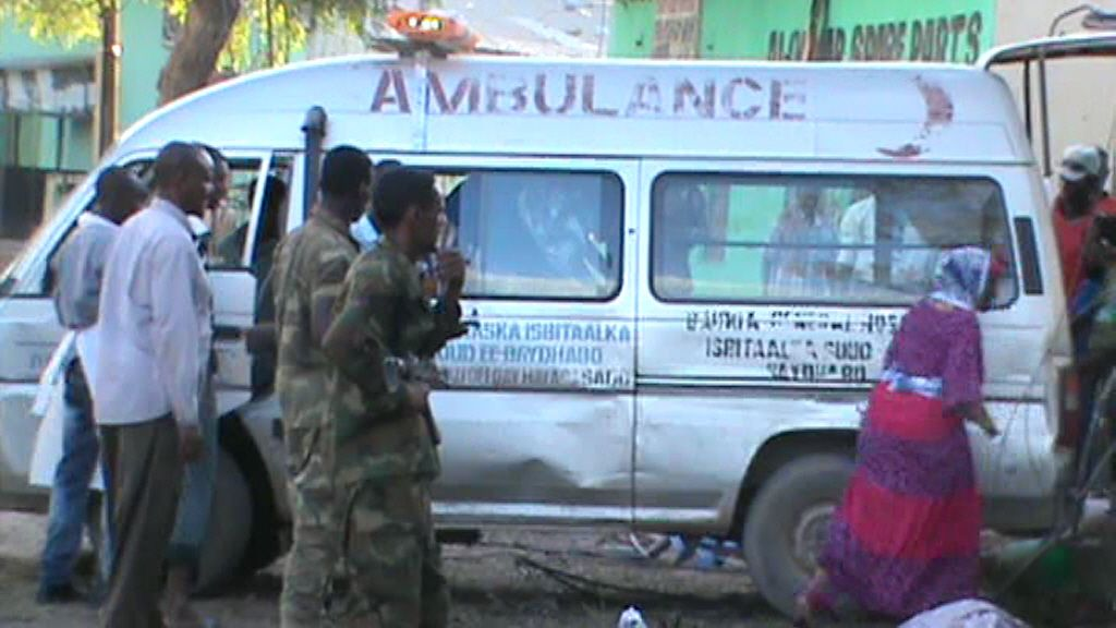 An ambulance is seen in Baidoa after twin explosions claimed by Al-Shabab.