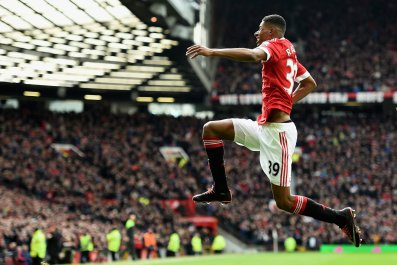 Marcus Rashford scored twice for Manchester United on his Premier League debut.