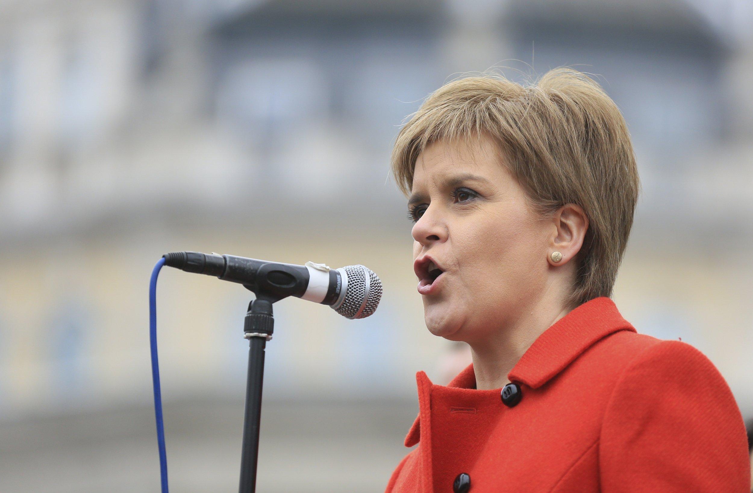 Nicola Sturgeon speaks at a Trident protest