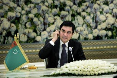 Gurbanguly Berdimuhamedov sits at a meeting in Ashgabat