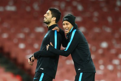 Luis Suarez, right, and Nemyar in Barcelona training.