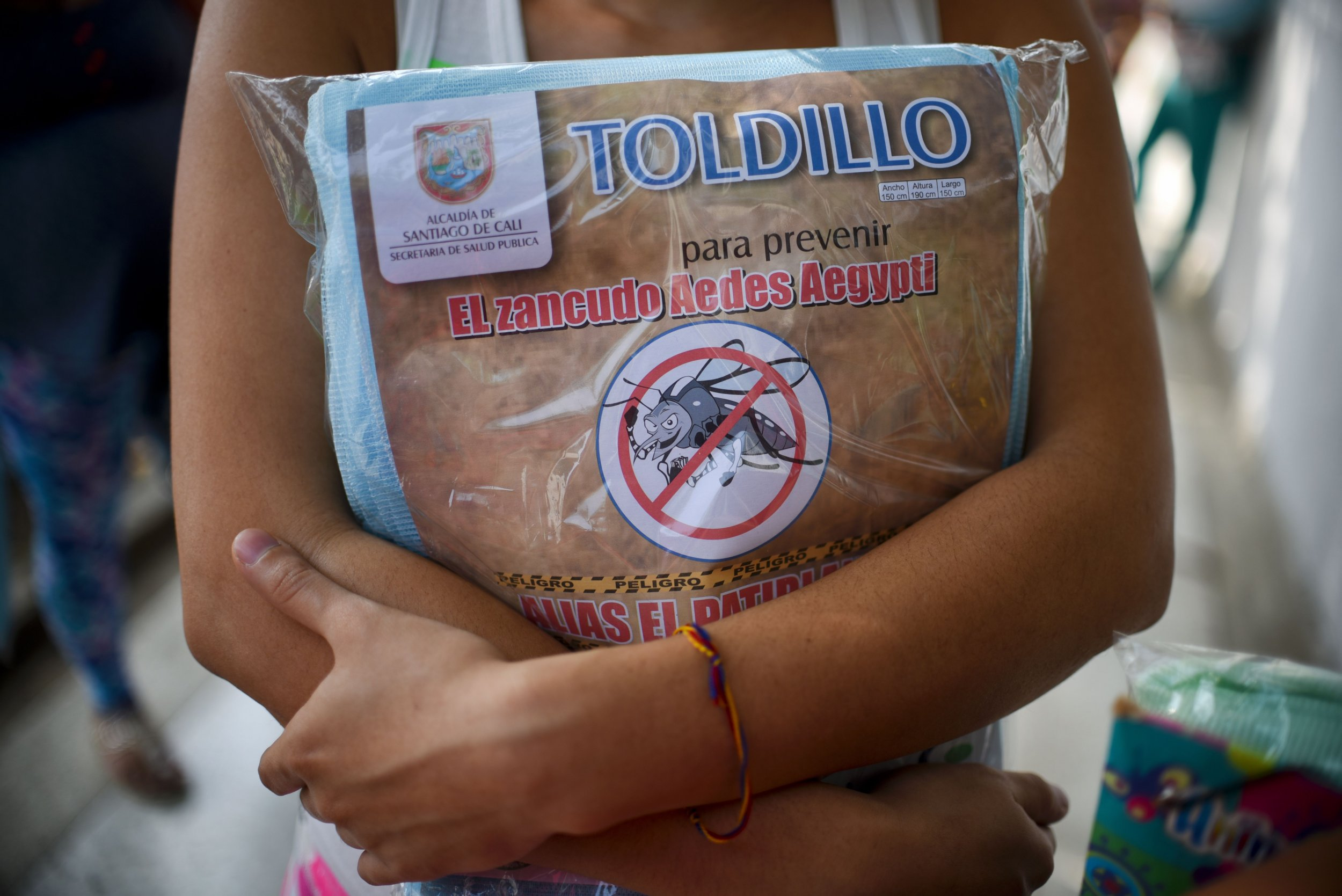 A pregnant woman in Colombia holds a mosquito net.