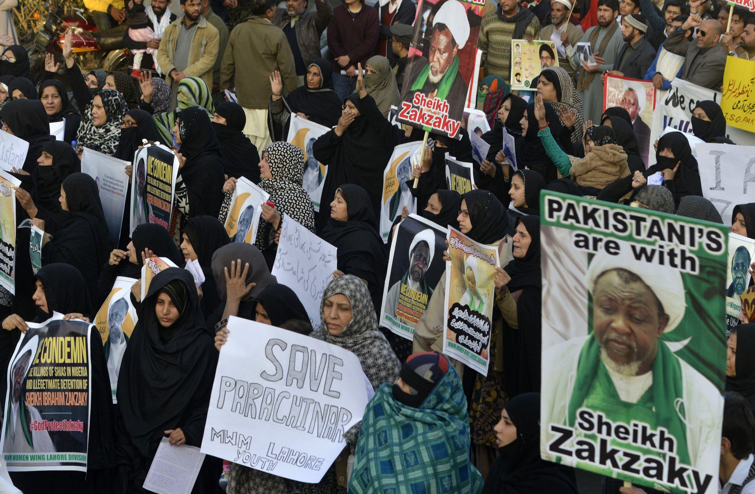 Shiites in Pakistan protest against Sheikh Zakzaky's detention.