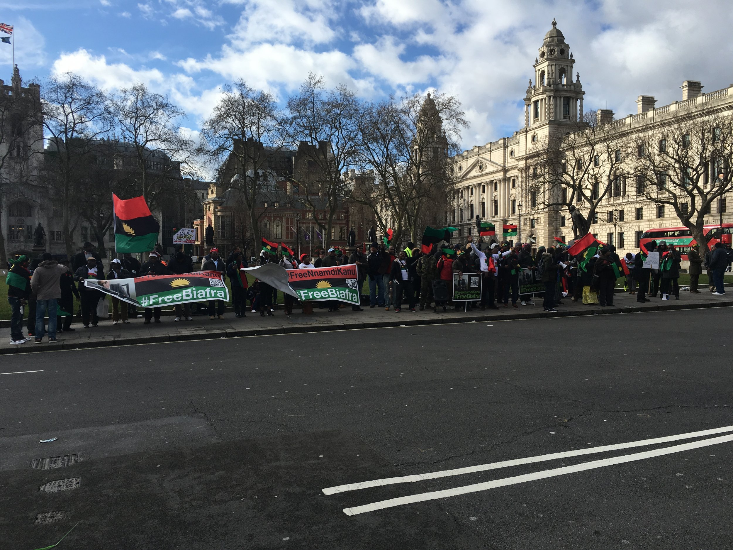 Pro-Biafra demonstrators gather in London.
