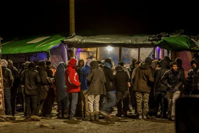 Refugees and migrants in Calais.