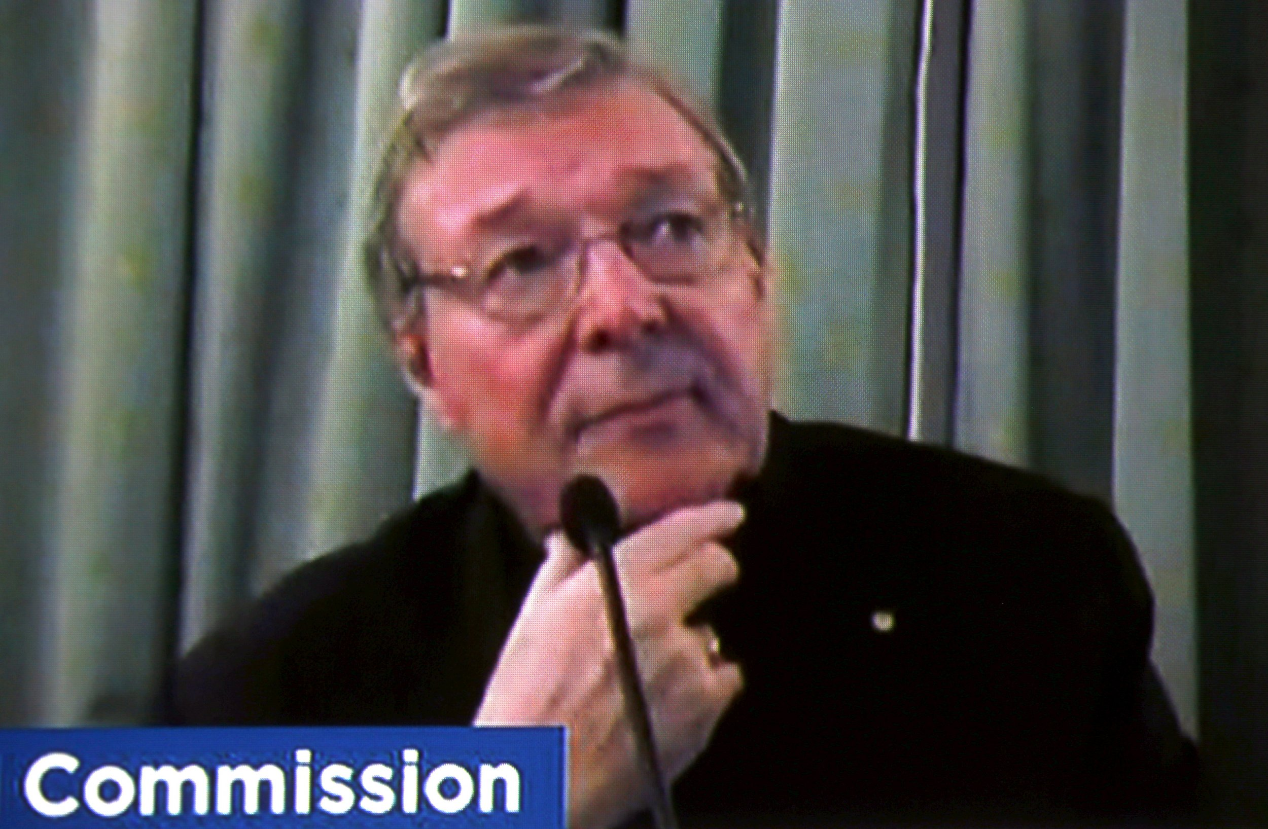 Cardinal George Pell testifies via video link in an Australian child abuse inquiry.