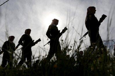 Jordanian soldiers' silhouttes in sunlight