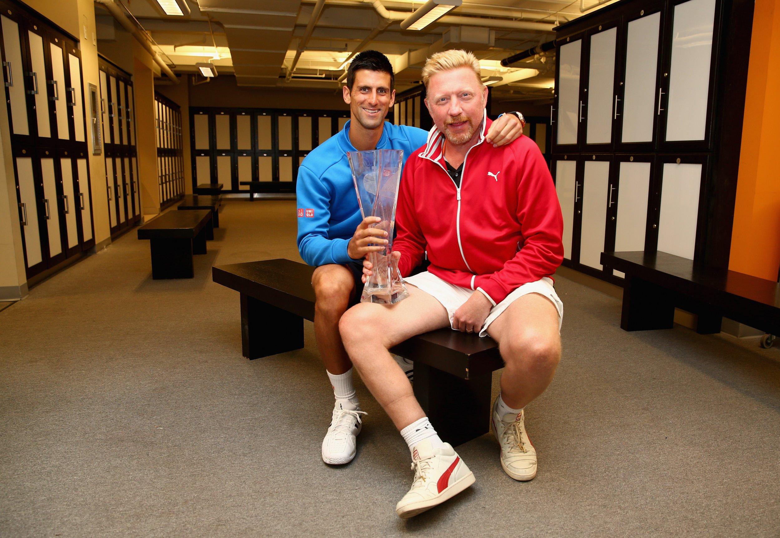 Novak Djokovic with his coach Boris Becker, April 5, 2015.