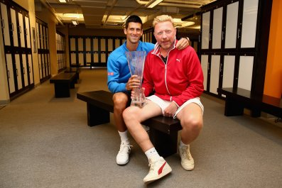 Novak Djokovic with his coach Boris Becker, April 5, 2015.