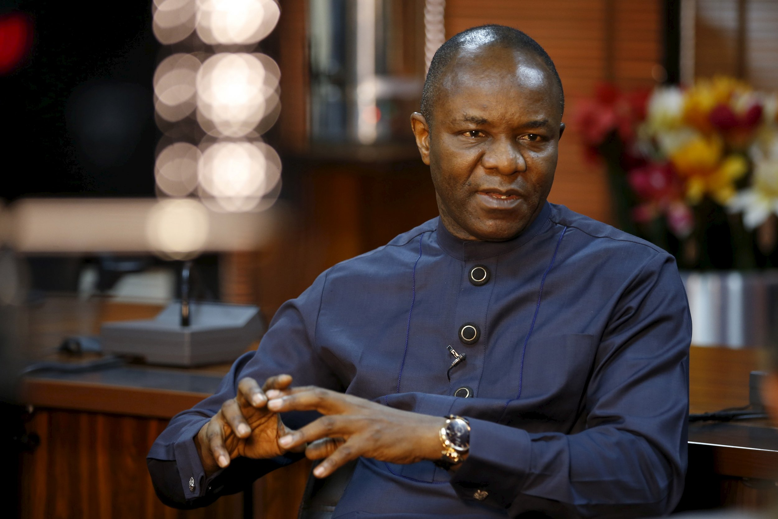 Nigerian oil minister Emmanuel Ibe Kachiwku speaks in a Reuters interview.
