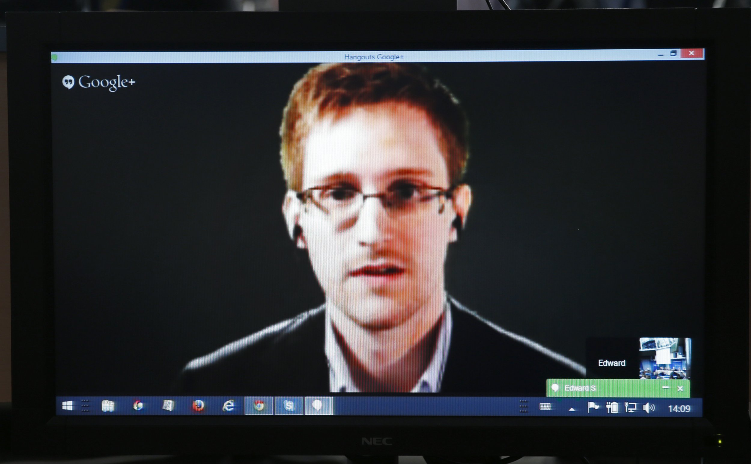 Edward Snowden appears on screen