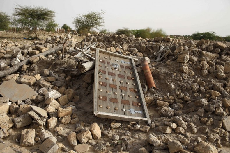 Rubble from an ancient Timbuktu mausoleum in seen in Mali.