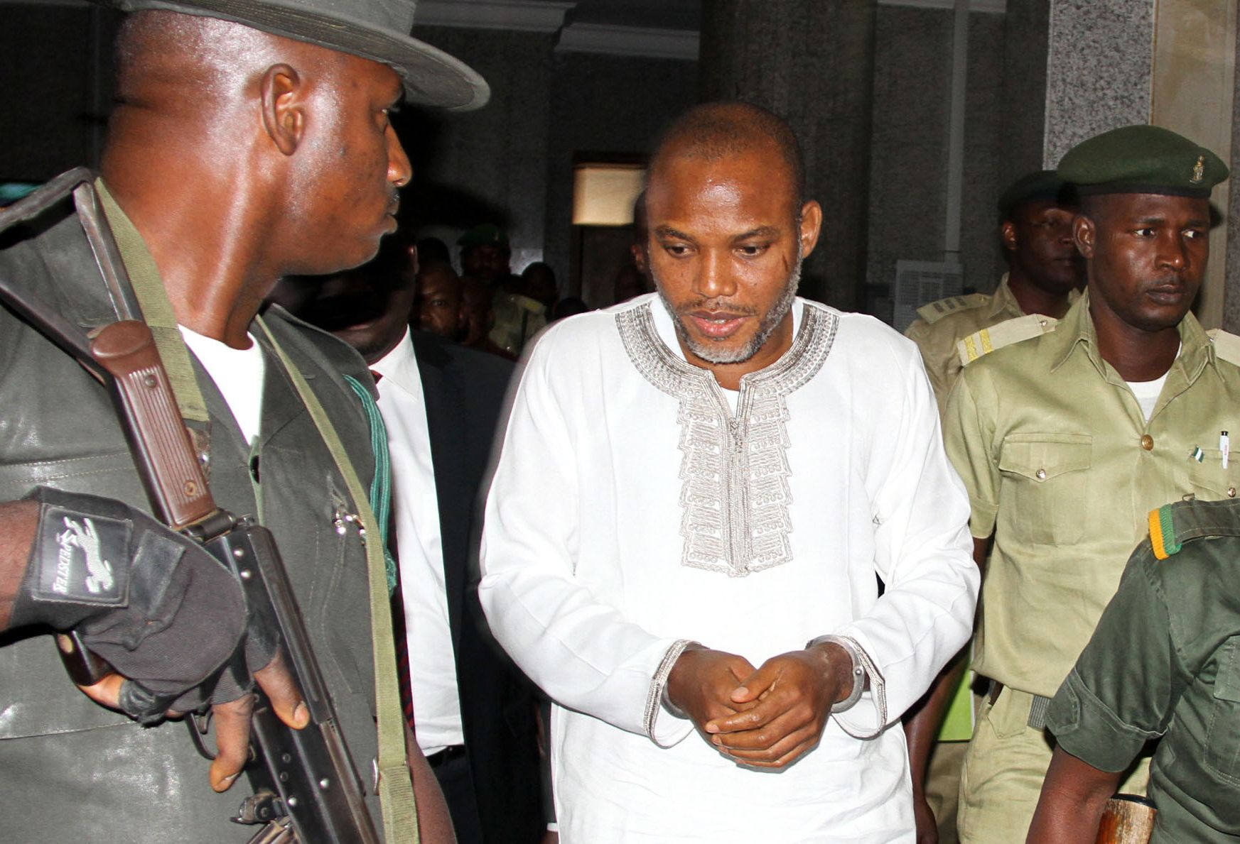 Biafra activist Nnamdi Kanu attends his trial in Abuja.