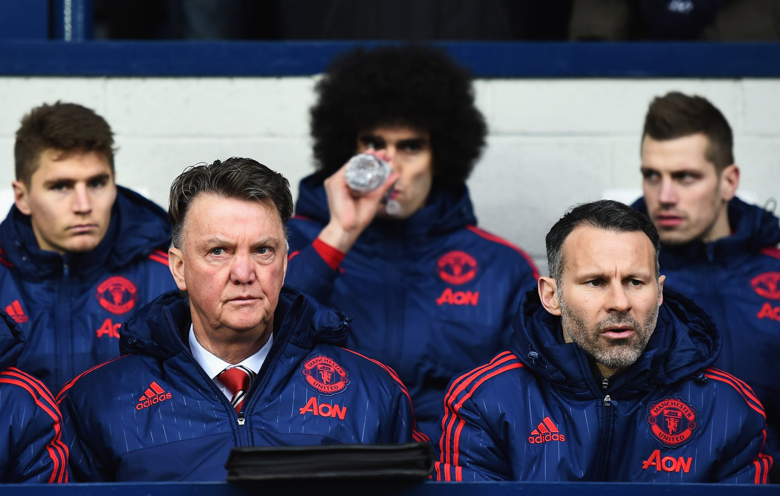 Louis Van Gaal, left, has a year remaining on his Manchester United contract.