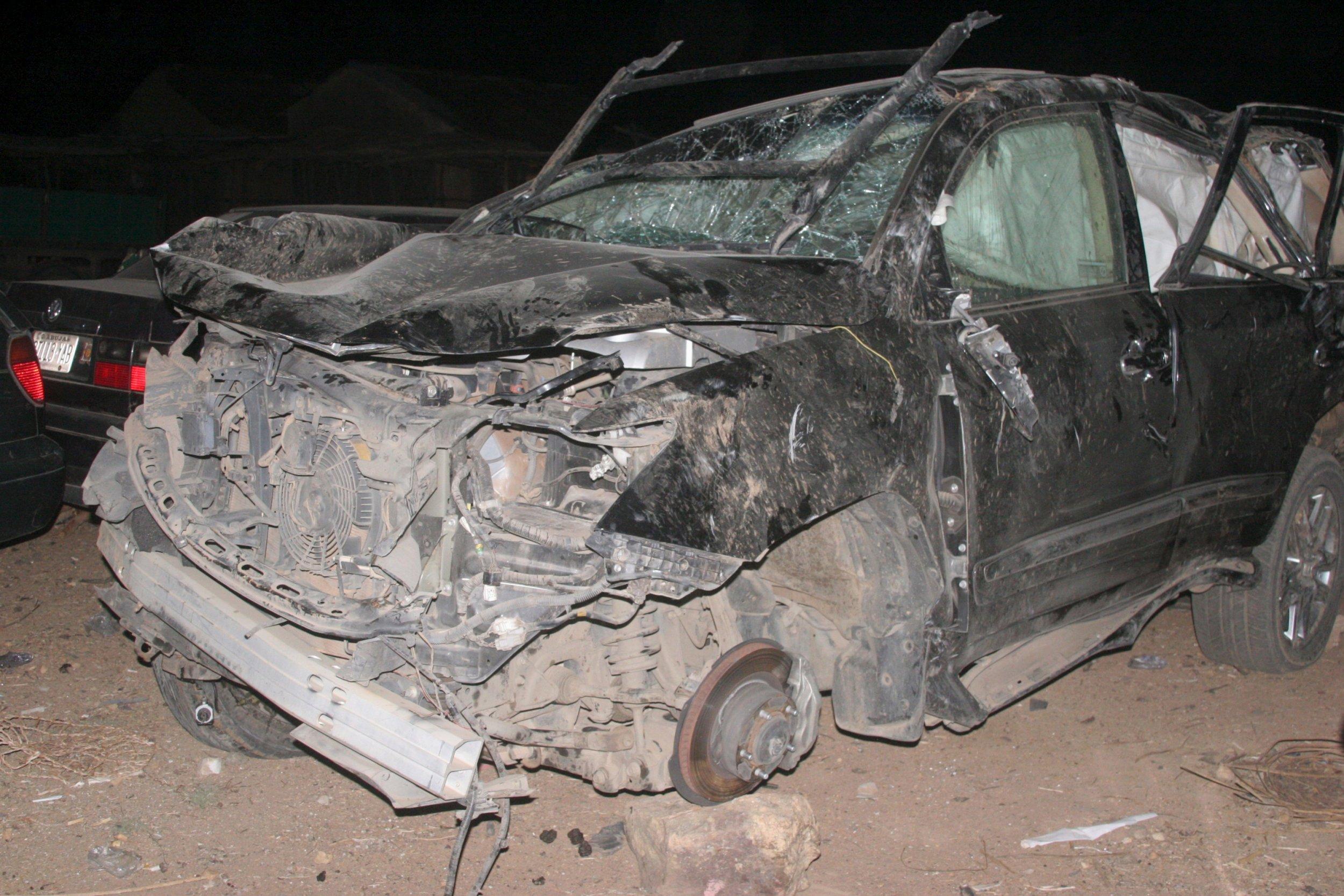 The jeep that transported James Ocholi is seen in Kaduna.