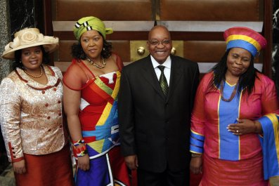 South African President Jacob Zuma with three of his wives.