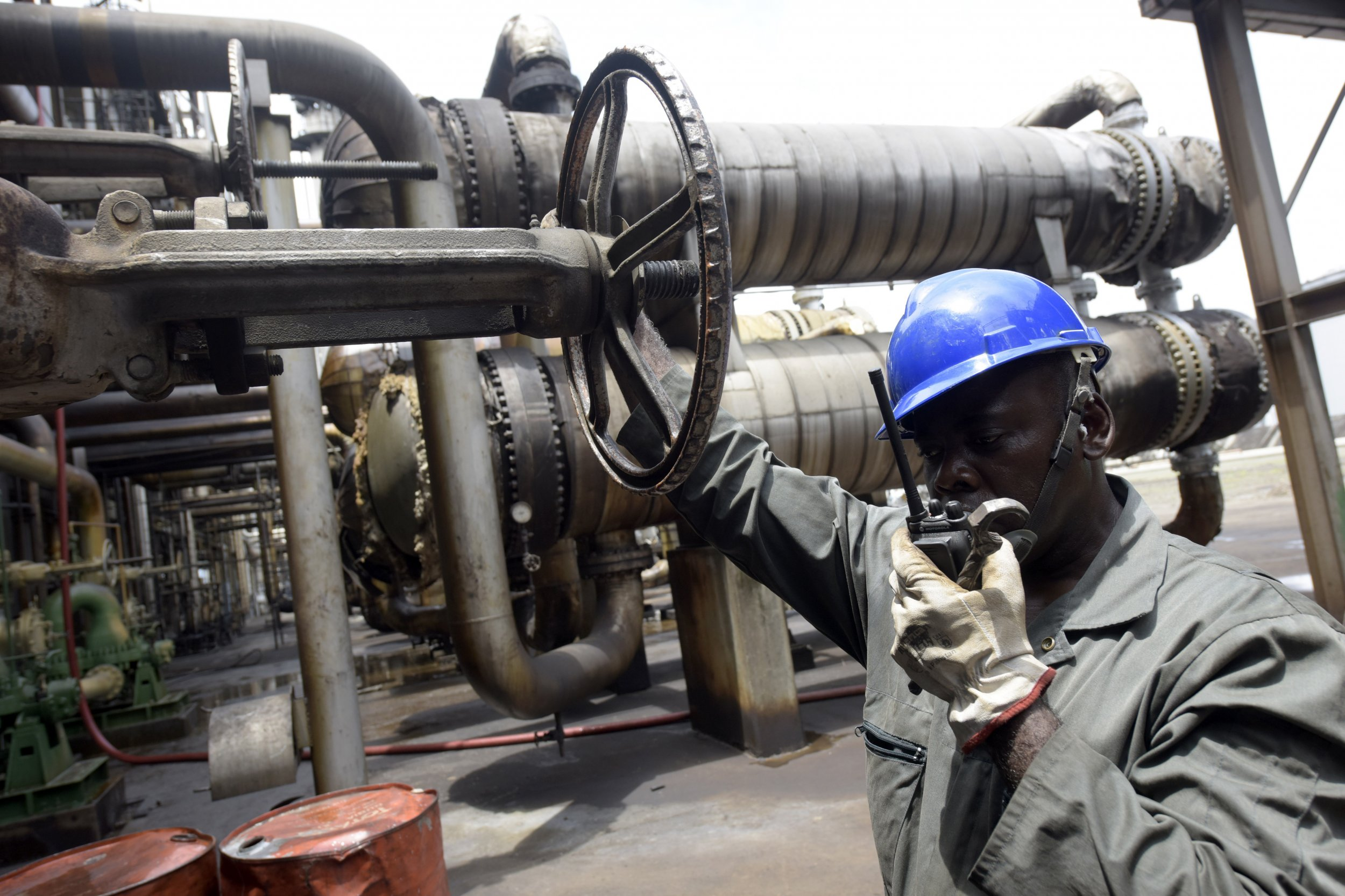 A worker is seen at Port Harcourt oil refinery in Nigeria.