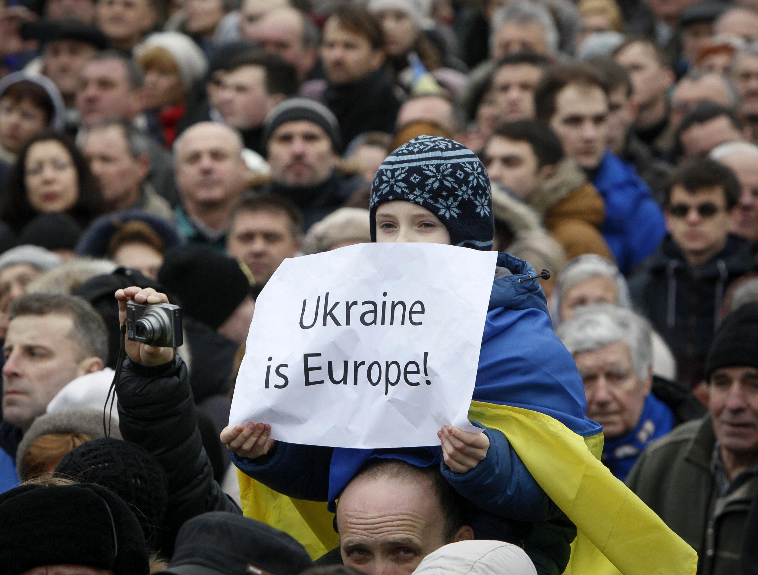 People gather on the Maidan