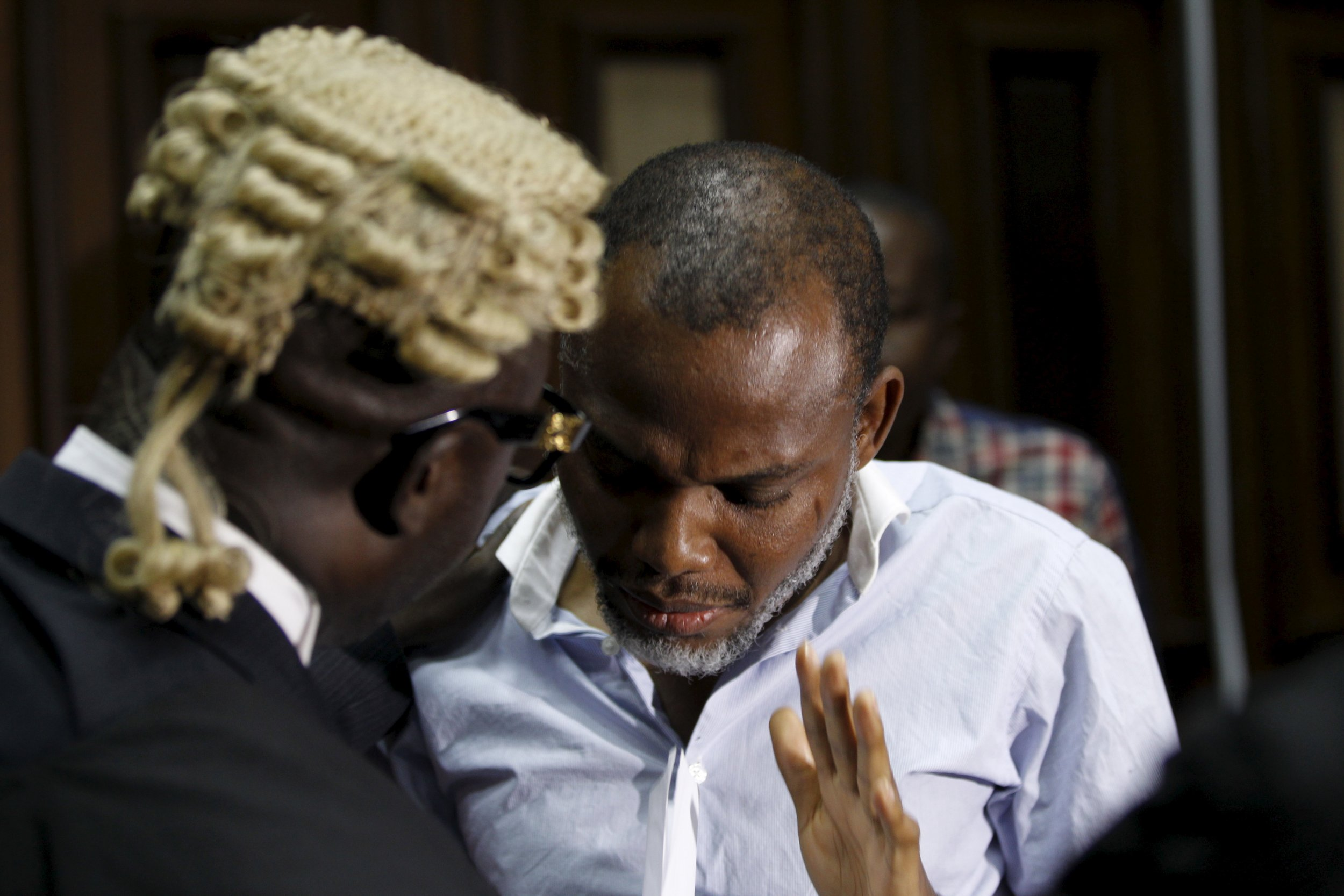 Pro-Biafra activist Nnamdi Kanu with his lawyer.
