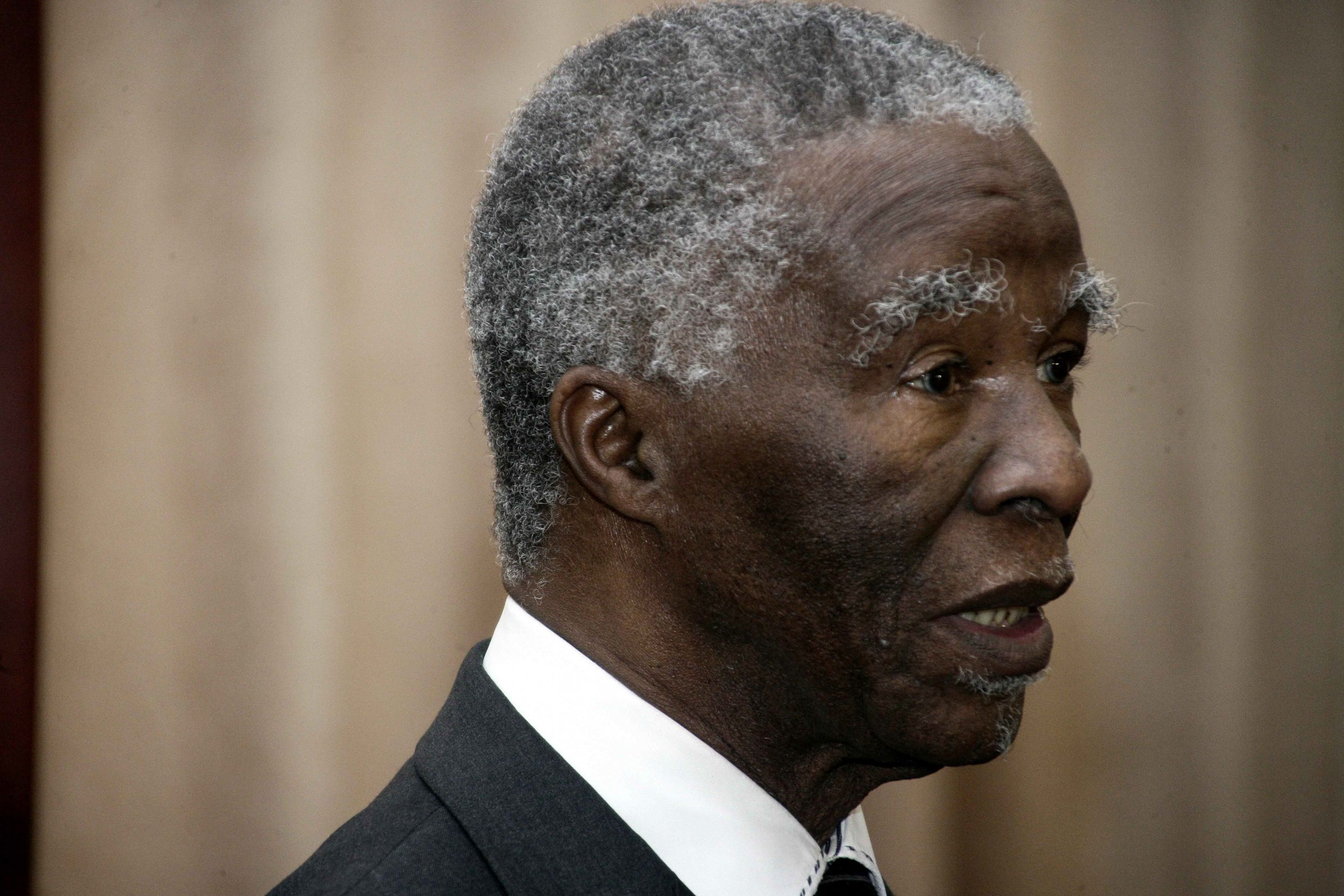 Former South African President Thabo Mbeki at a meeting in Sudan.