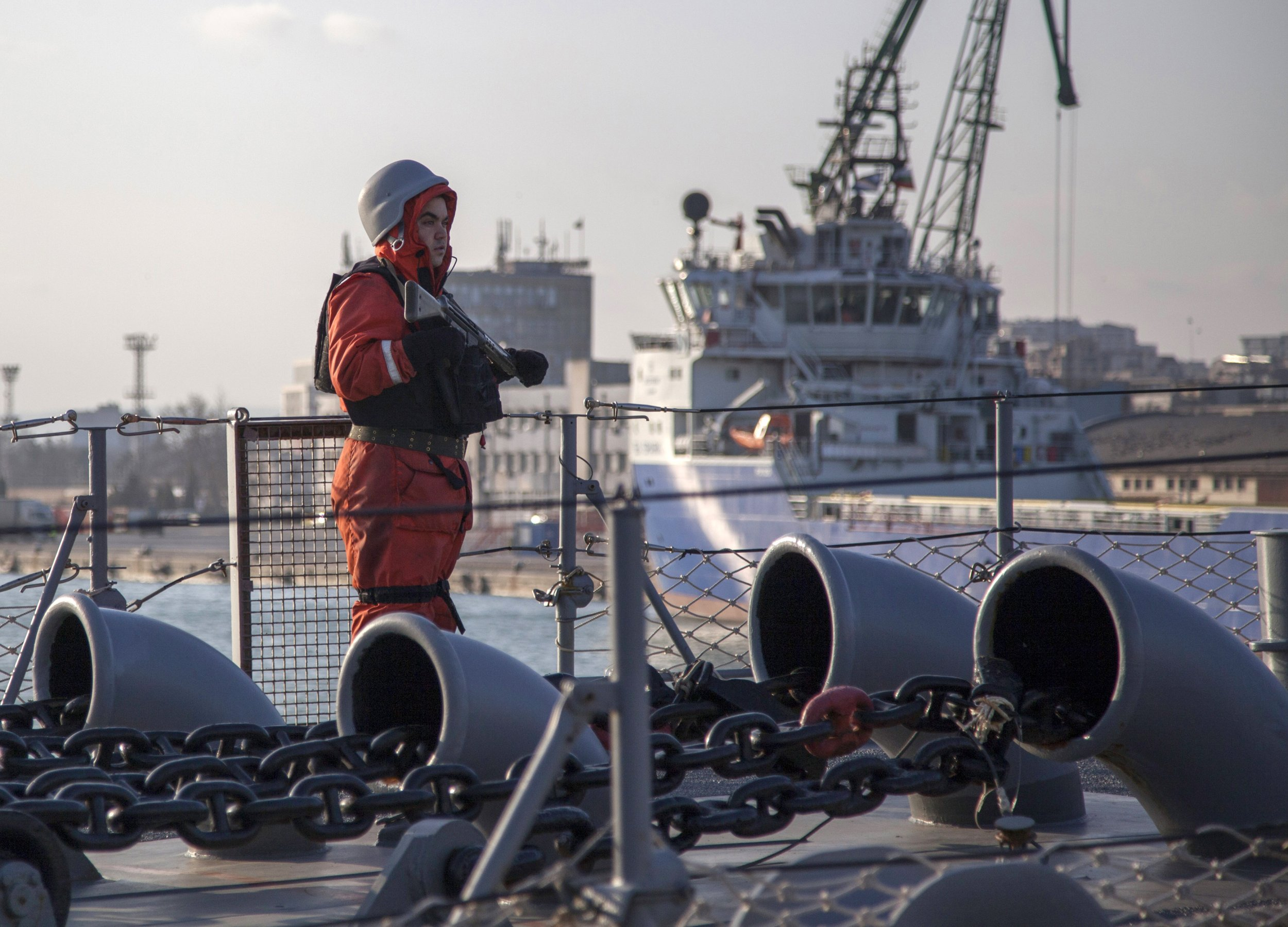 Soldier stands on Turkish Black Sea ship