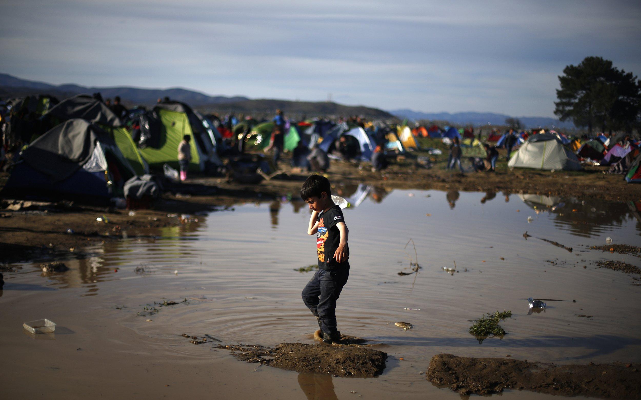 Refugee boy on Greek Macedonian border
