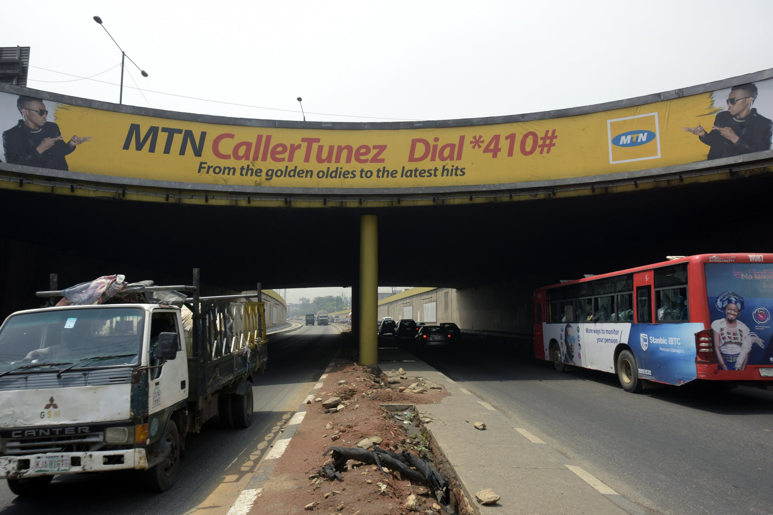 An MTN advert is seen in Lagos.