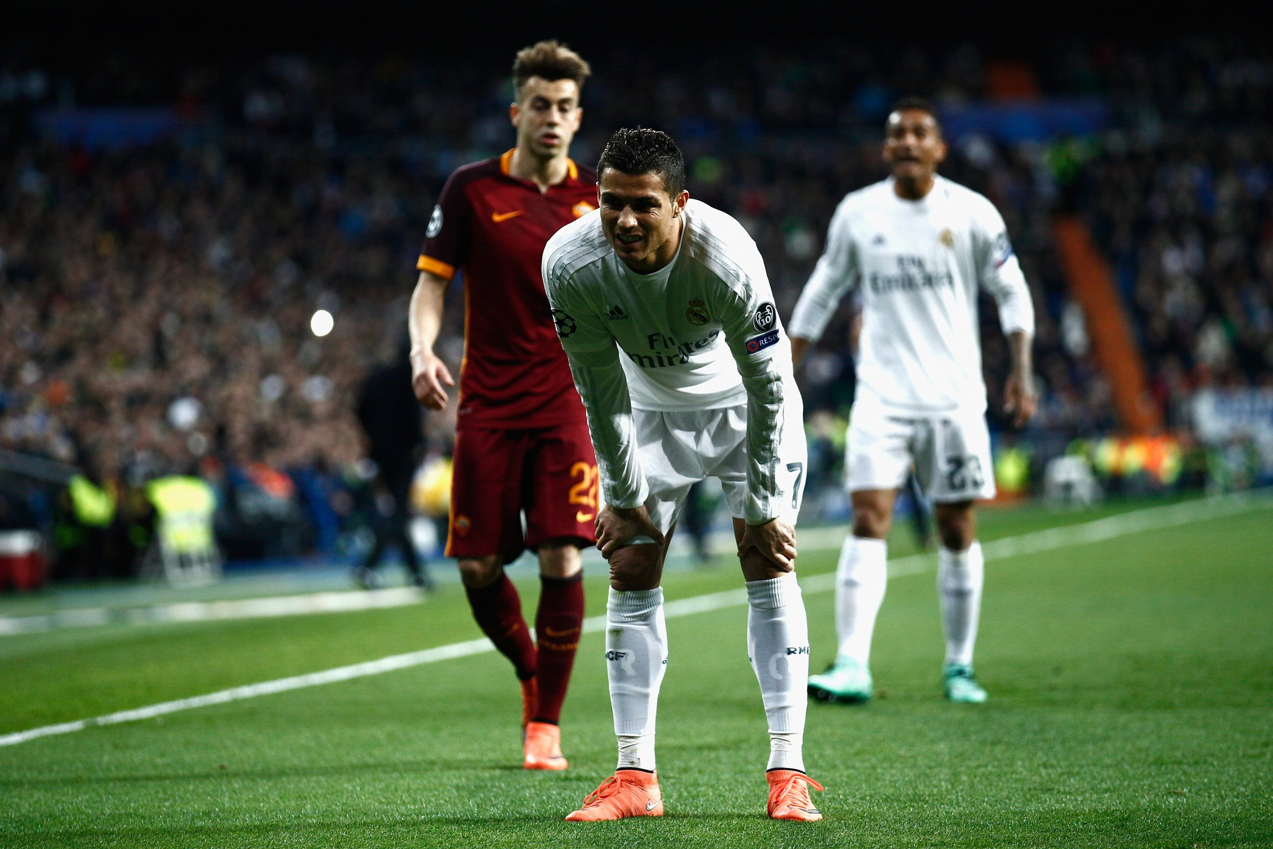 Real Madrid forward Cristiano Ronaldo in the Santiago Bernabeu against A.S. Roma on Tuesday evening.