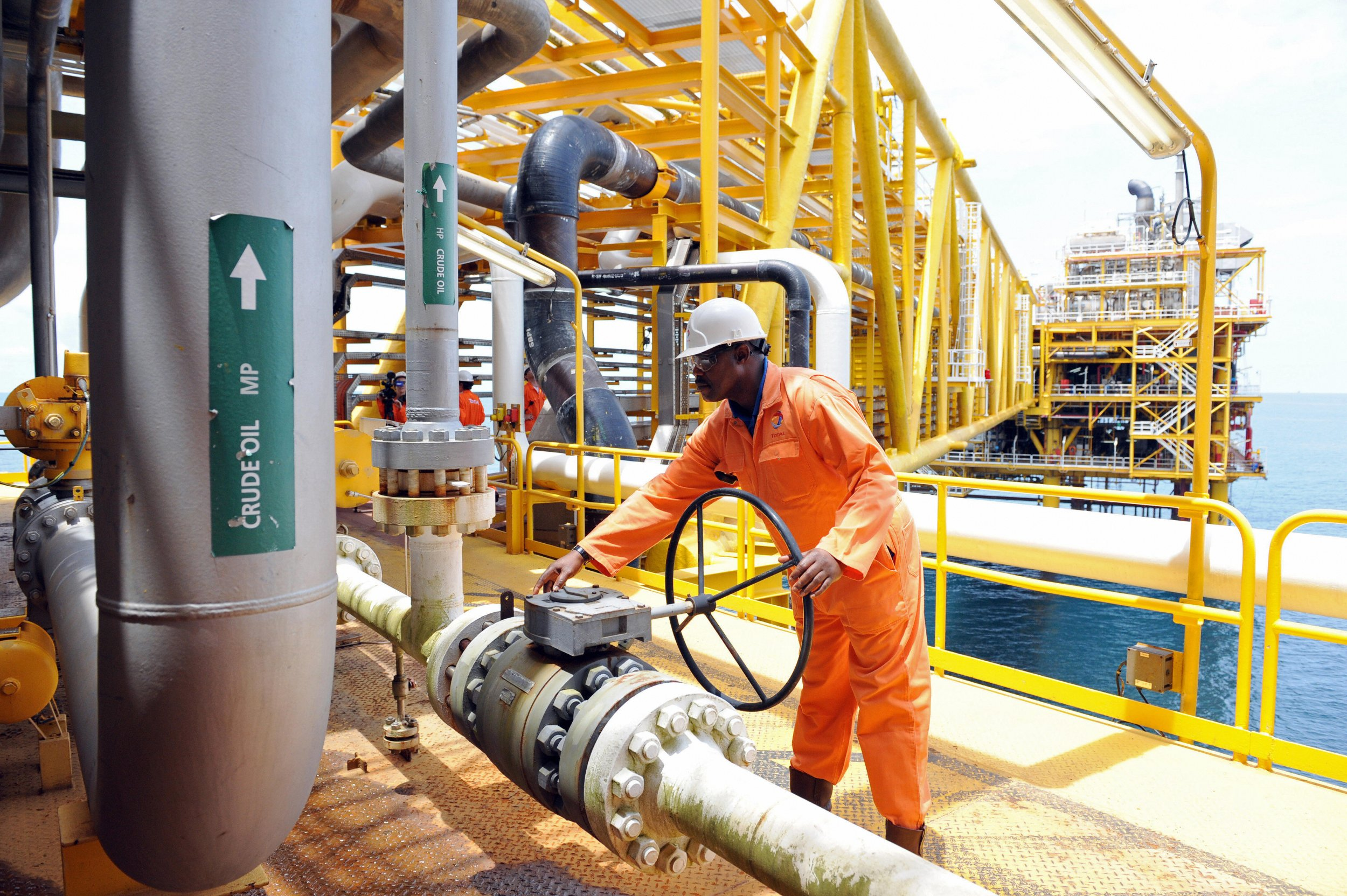 An oil worker on a platform off Port Harcourt, Nigeria.
