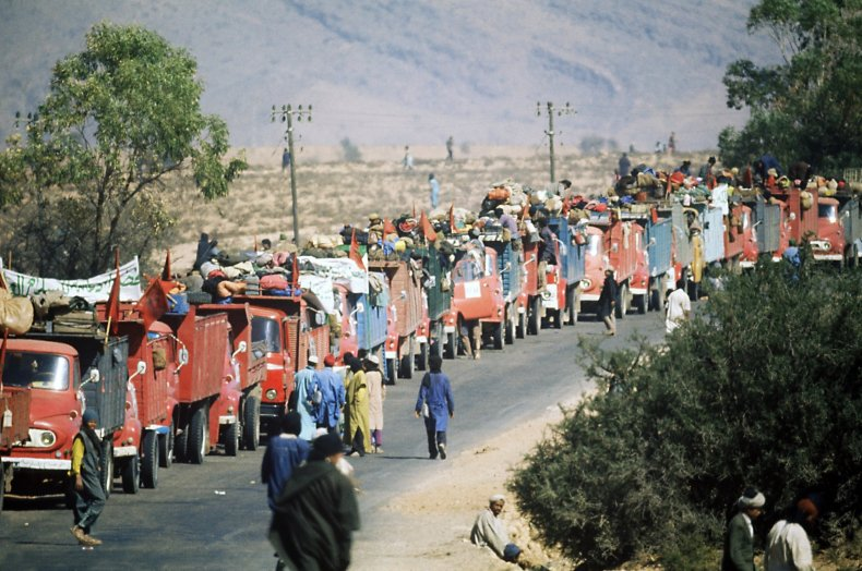 Moroccan volunteers participate in the Green March.