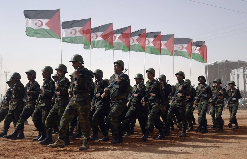 Soldiers from the Sahrawi People's Liberation Army parade in Western Sahara.