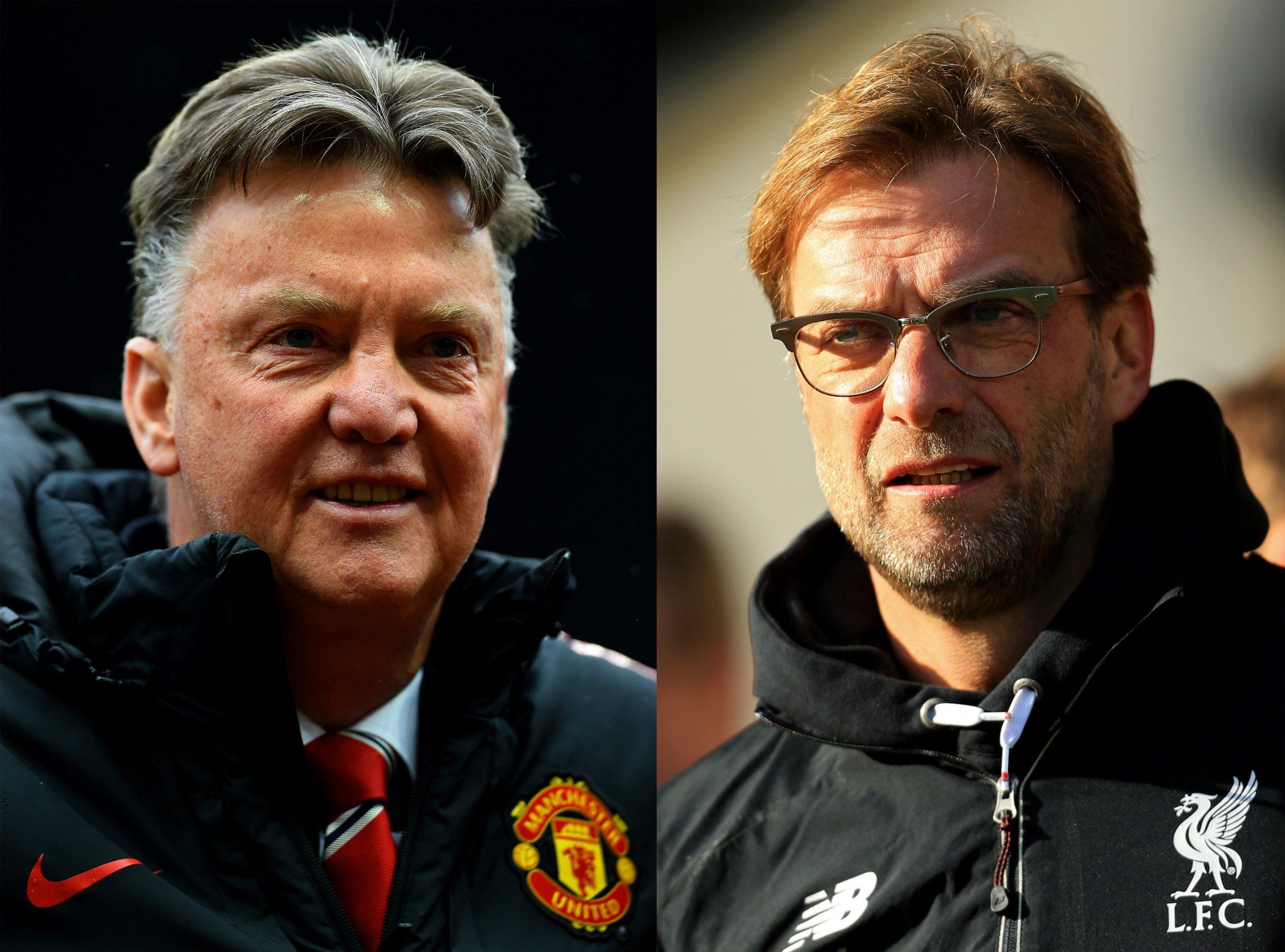 Manchester United manager Louis Van Gaal, left, faces Jurgen Klopp's Liverpool on Thursday evening.