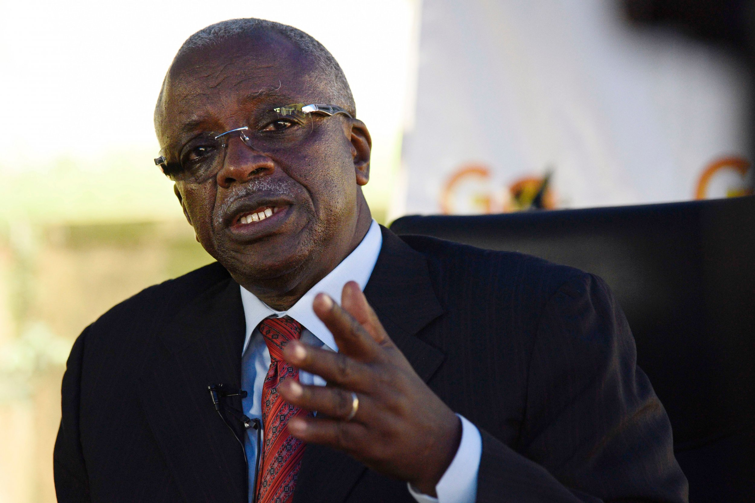 Uganda's Amama Mbabazi speaks to the media in Kampala.