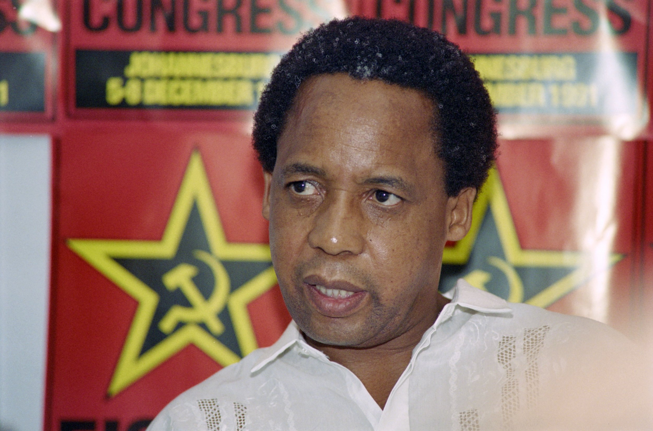 South African Communist Party leader Chris Hani speaks at a press conference.
