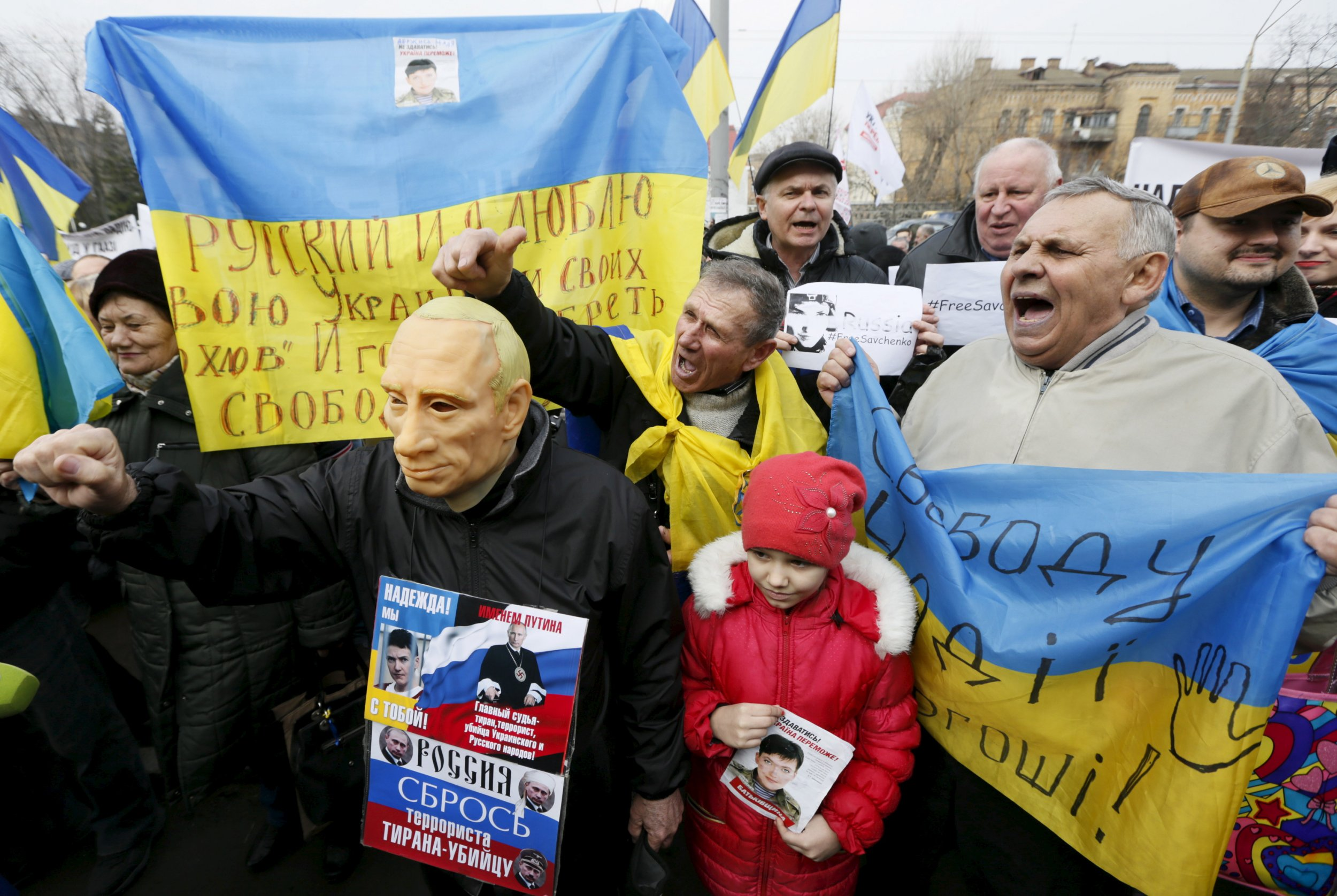 Savchenko protesters outside the Russian embassy