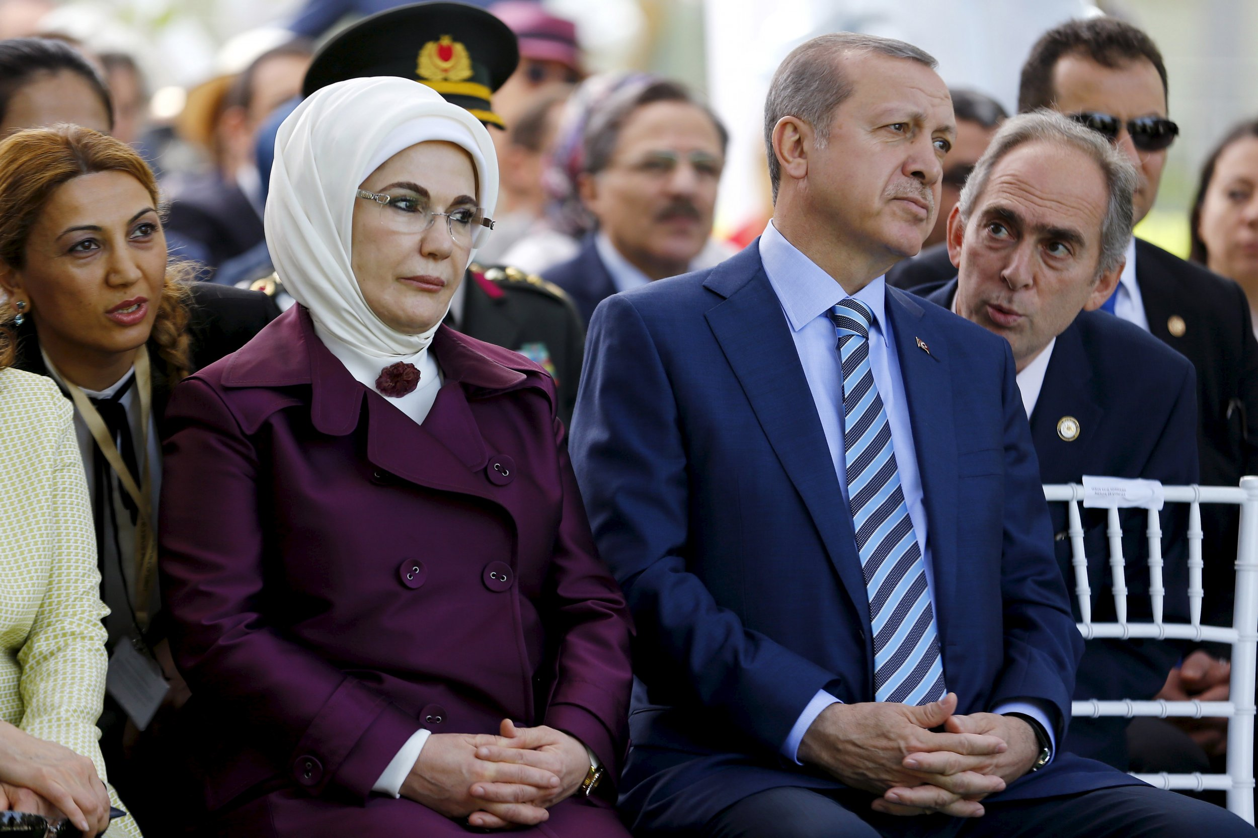 Emine Erdogan sits by her husband