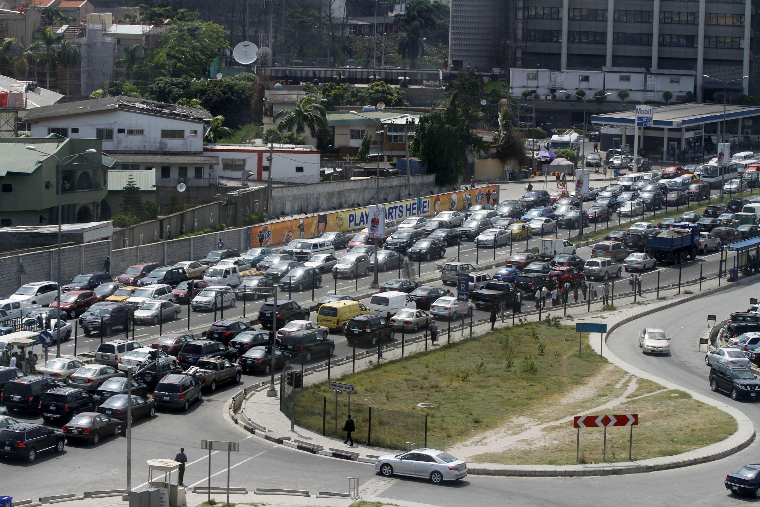 Heavy traffic in Lagos, Nigeria.