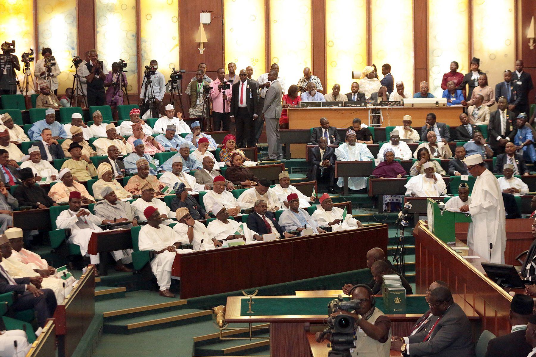 Nigerian President Muhammadu Buhari talks after delivering his budget.