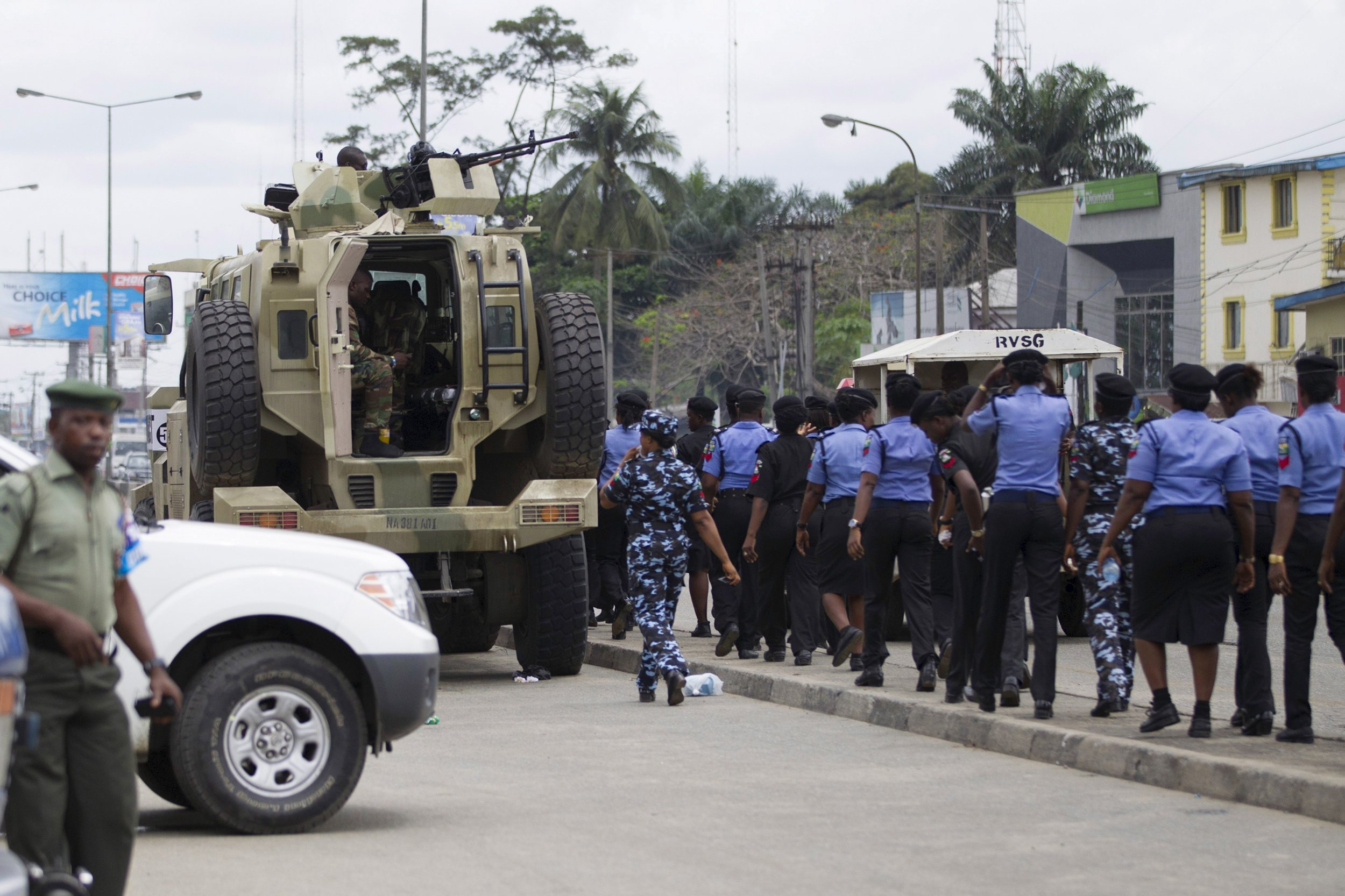 Policewoman march in Rivers state following Nigeria's general election.