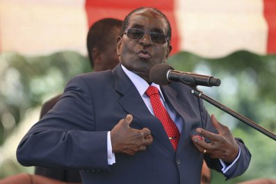 Zimbabwe's President Robert Mugabe addresses a party conference in Harare.