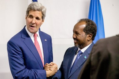 U.S. Secretary of State John Kerry meets with Somali President Hassan Sheikh Mohamud.
