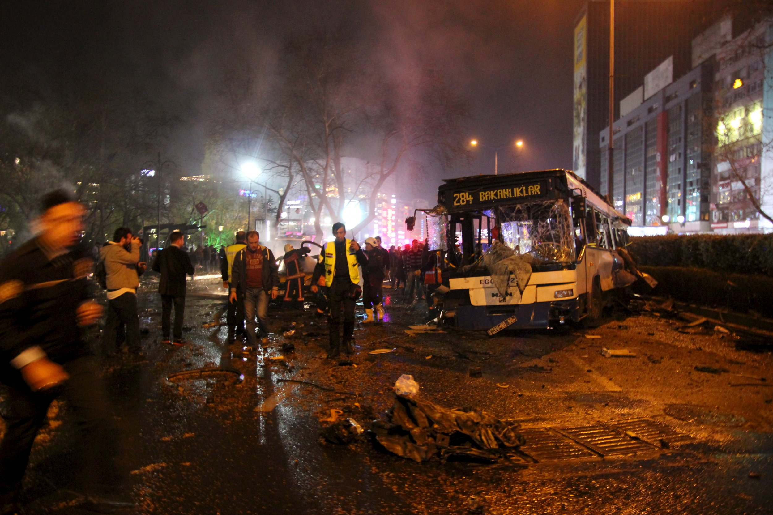 Emergency workers at bomb site Ankara.