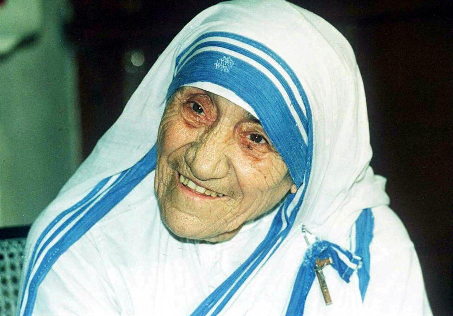 Mother Teresa smiles in Calcutta.