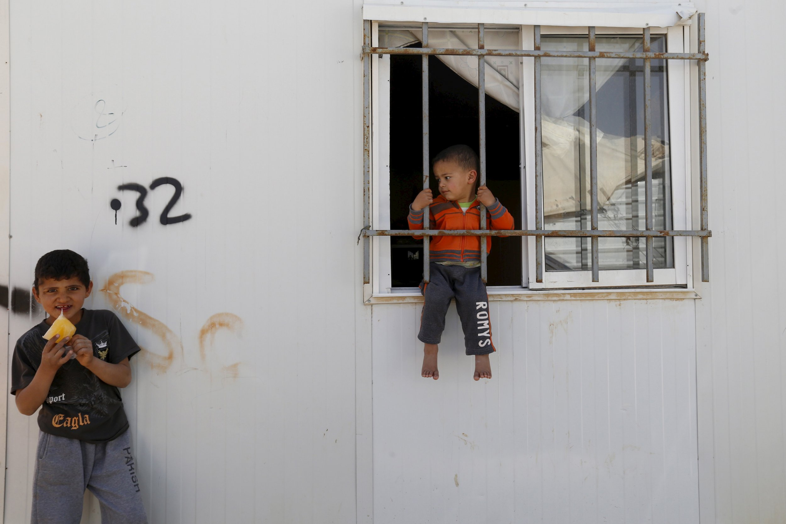Syrian children in Al Zaatari refugee camp.