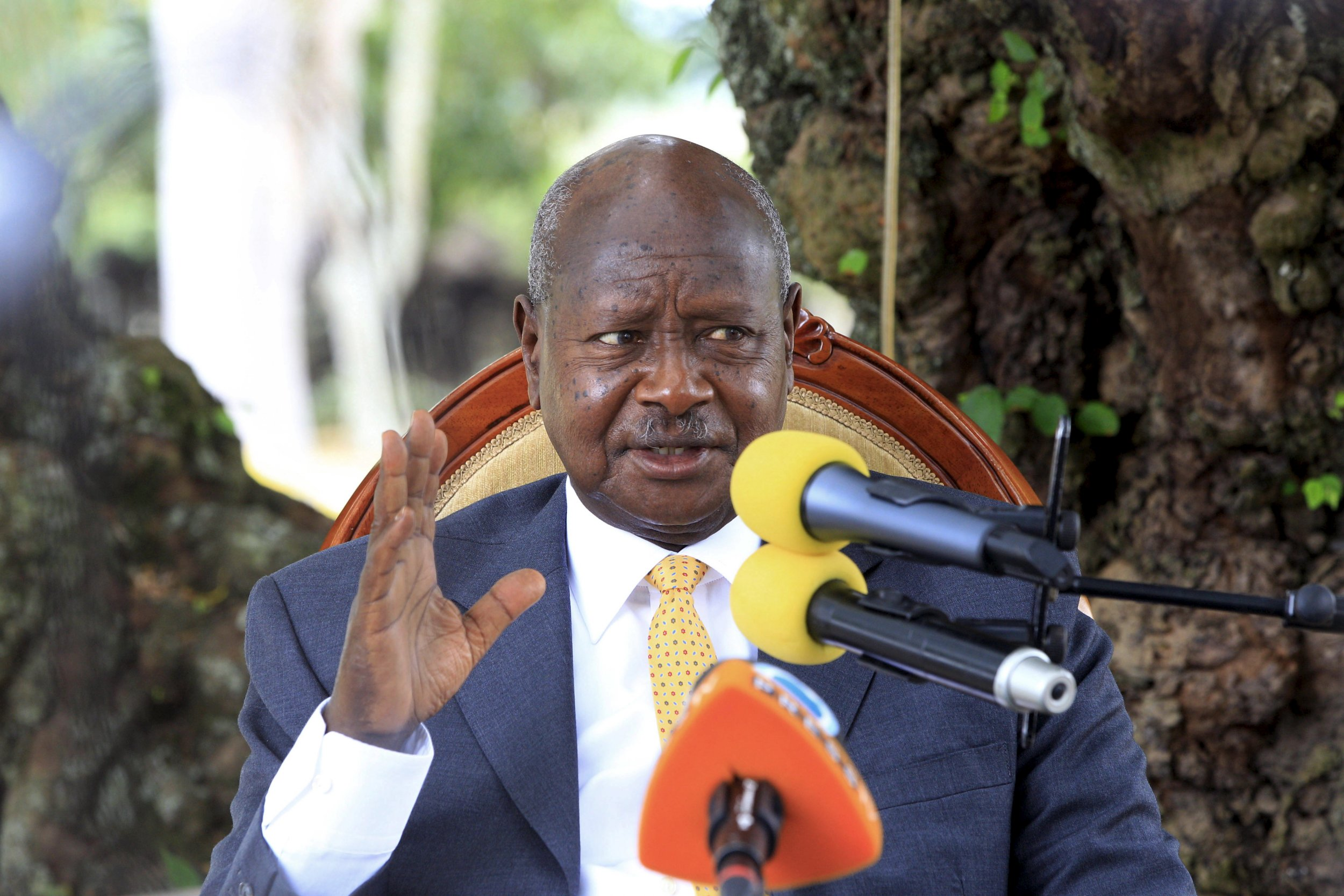 Uganda's president Yoweri Museveni addresses the nation.