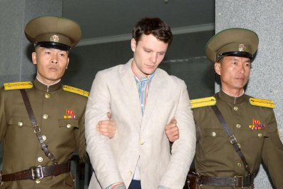 U.S. student Otto Warmbier is taken to court in North Korea.