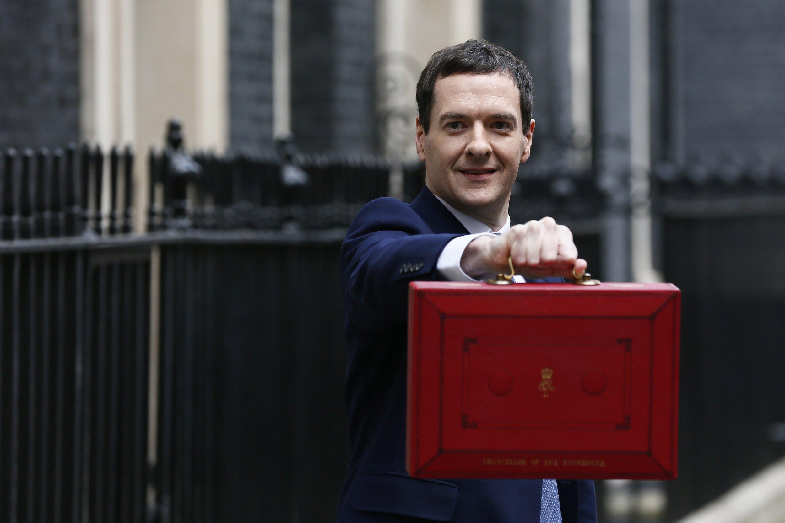 George Osborne presents UK budget.