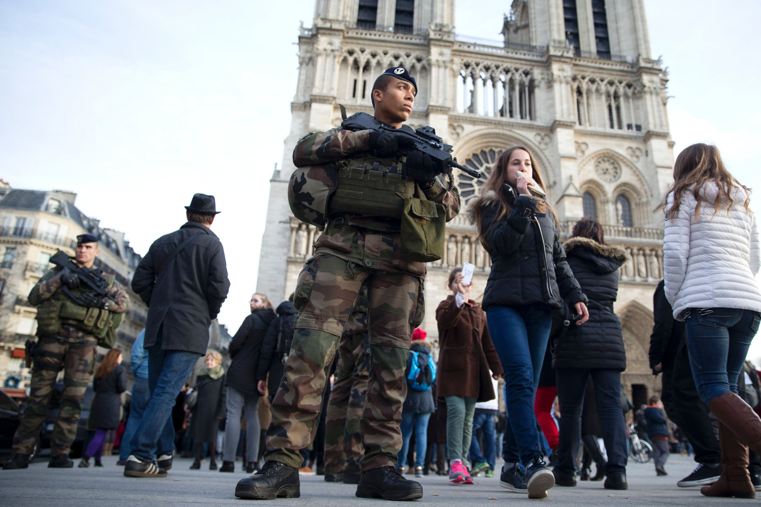 French soldiers patrol outside Notre Dame.